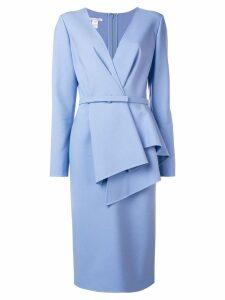 Oscar de la Renta tailored wrap-style dress - Blue