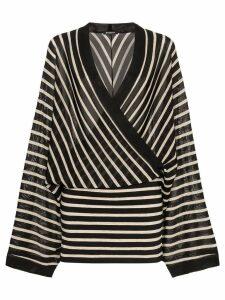 Balmain V neck knitted linen blend dress - Black