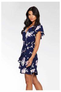 Womens Quiz Floral Wrap Dress -  Blue