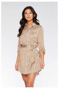 Womens Quiz Geometric Print Shirt Dress -  Cream