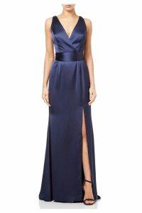 Womens Adrianna Papell Blue Satin Open Dress -  Blue