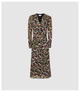 Reiss Lita - Twist Front Ditsy Printed Dress in Multi, Womens, Size 16