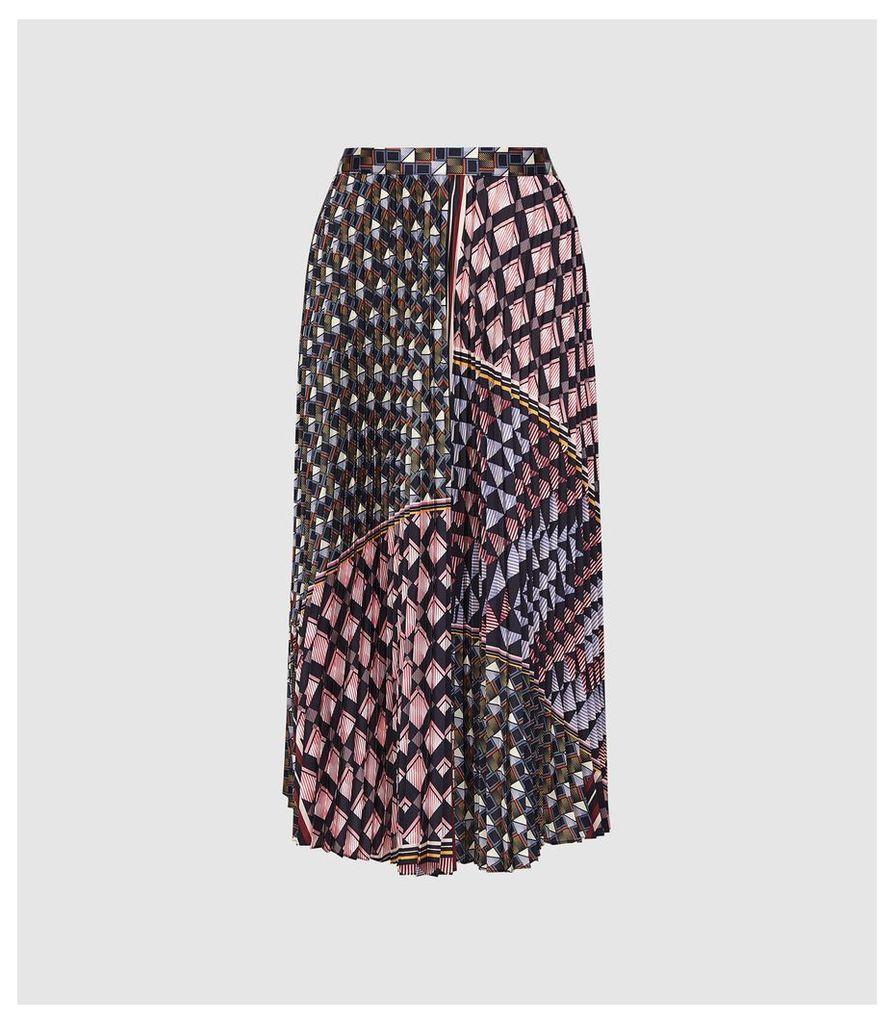 Reiss Leah - Geo Knife Pleated Midi Skirt in Multi, Womens, Size 14