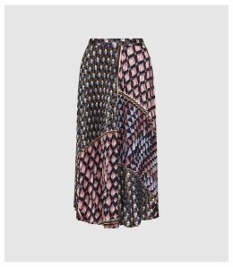 Reiss Leah - Geo Knife Pleated Midi Skirt in Multi, Womens, Size 14