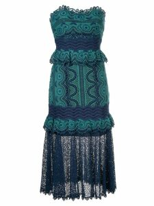 Sea woven embroidered midi dress - Blue