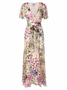 Temperley London geometric floral wrap dress - NEUTRALS