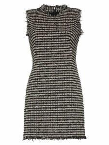 Alexander McQueen Sleeveless frayed edge tweed mini dress - Black