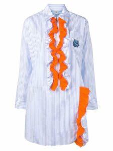 Prada striped ruffle shirt dress - Blue