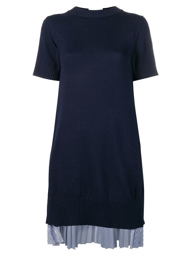 Sacai tunic dress with pleated rear layer - Blue
