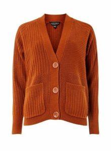 Womens Tan Large Button Cardigan- Brown, Brown