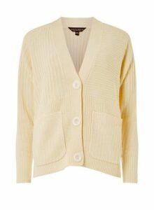 Womens Cream Large Button Cardigan- Cream, Cream