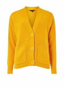 Womens Orange Large Button Cardigan- Orange, Orange
