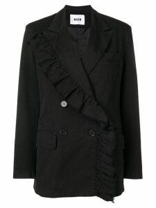 MSGM ruffle trim blazer - Black