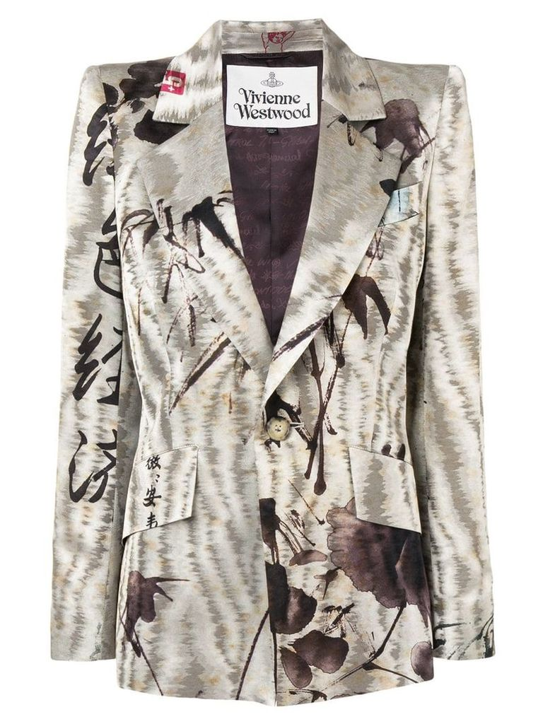 Vivienne Westwood embroidered fitted blazer - Neutrals