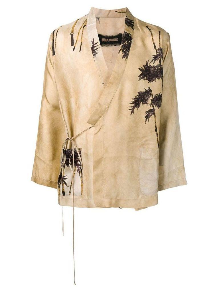 Uma Wang tree print kimono blazer - Neutrals