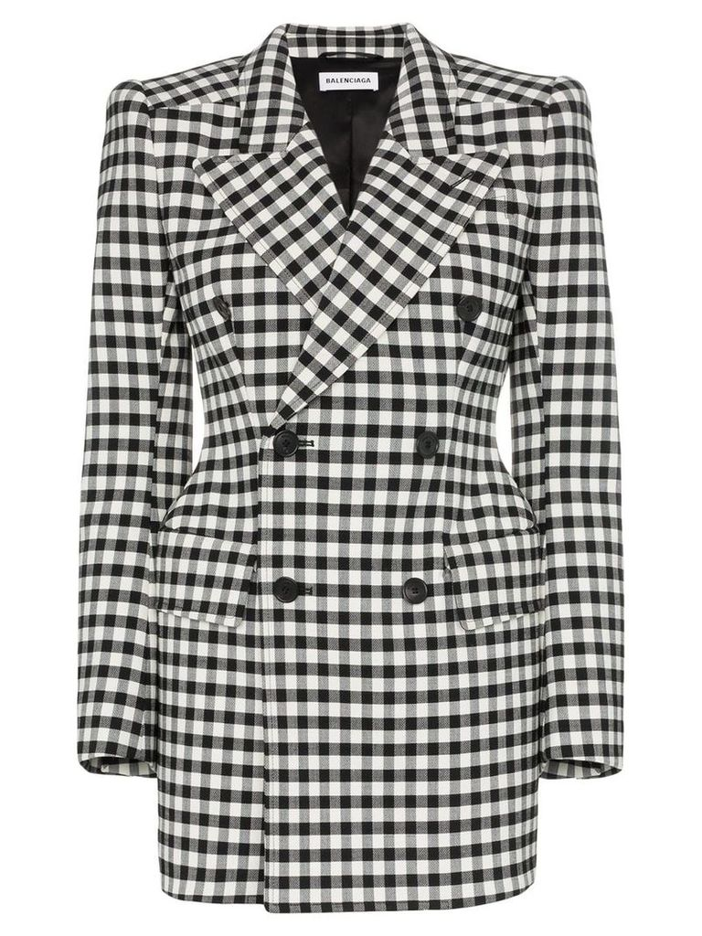 Balenciaga checked wool hourglass waist blazer - Black