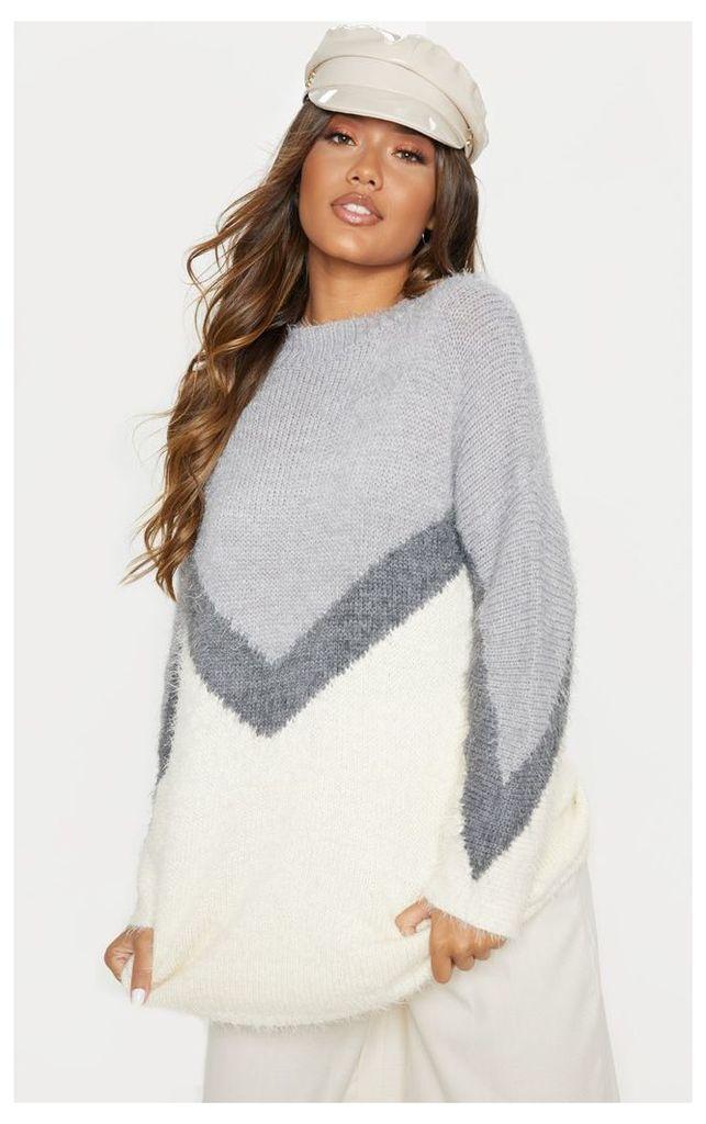 Cream Eyelash Chevron Knitted Jumper, White