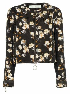 Off-White Floral Printed Bomber Jacket - Black