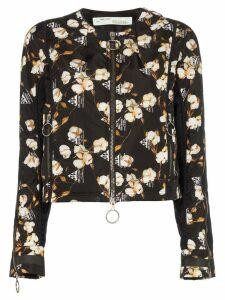 Off-White Floral Printed Bomber Jacket - Black