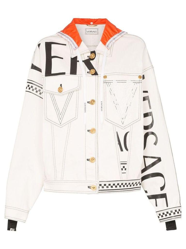 Versace Logo print hooded denim jacket - White