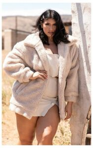 Plus Stone Teddy Bomber Coat, White