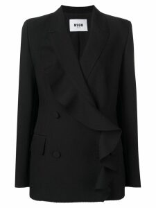 MSGM double-breasted ruffle jacket - Black