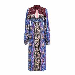 Comino Couture Comino Couture Blue Mosaic Key Hole Dress