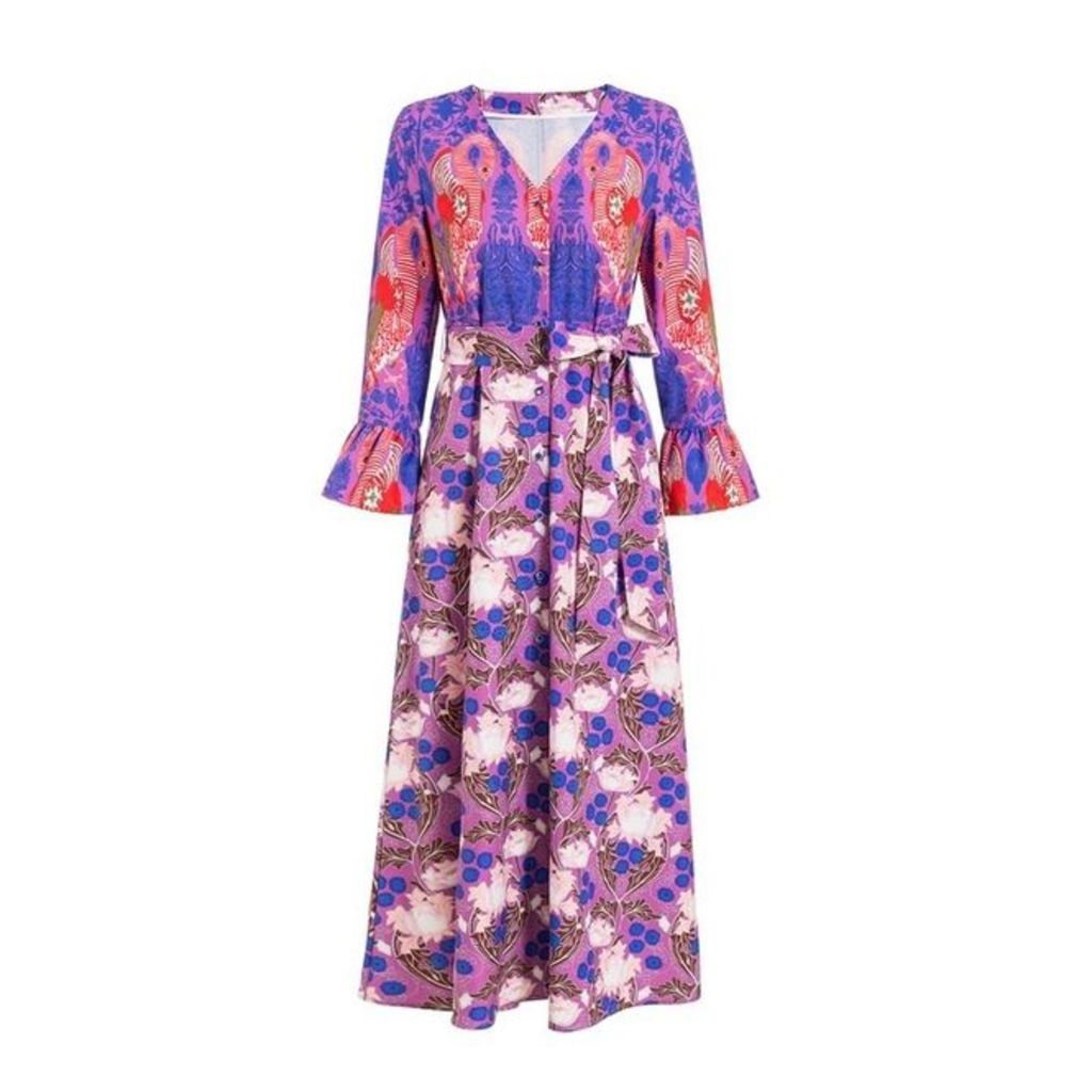 Comino Couture Comino Couture Electric Blue Flamingo Botanical Midi Dress