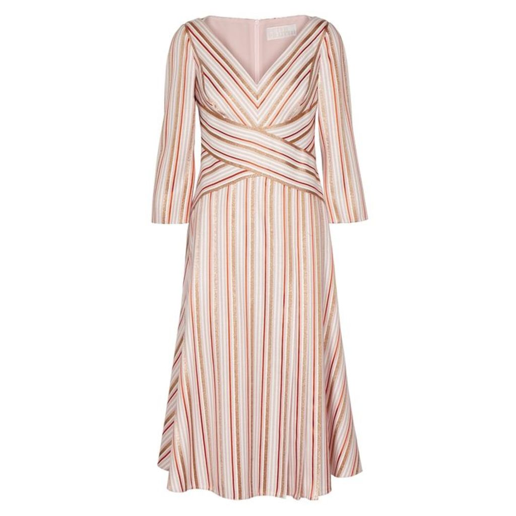 Peter Pilotto Striped Metallic-weave Cady Dress
