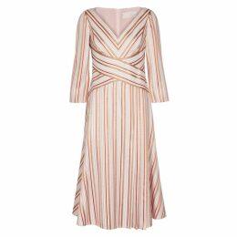 Peter Pilotto Striped Metallic-weave Cady Dress