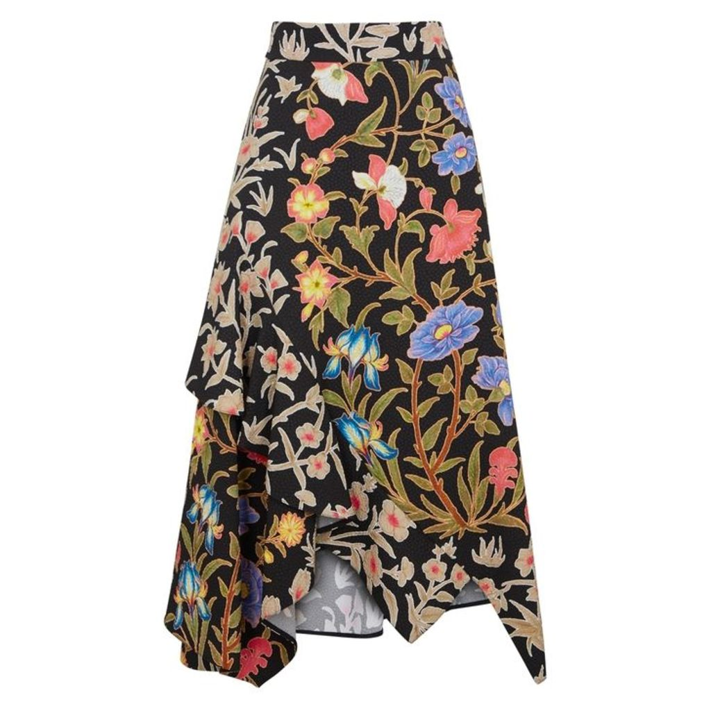 Peter Pilotto Floral-print Textured Midi Skirt