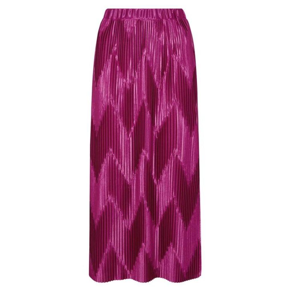 Givenchy Fuchsia Zigzag-pleated Satin Skirt