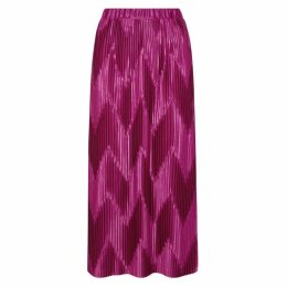 Givenchy Fuchsia Zigzag-pleated Satin Skirt