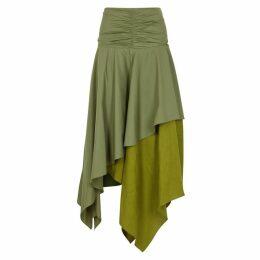 Loewe Army Green Ruched Asymmetric Skirt
