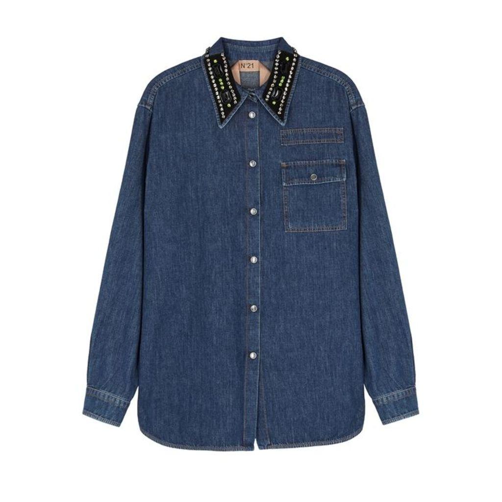No.21 Blue Crystal-embellished Denim Shirt