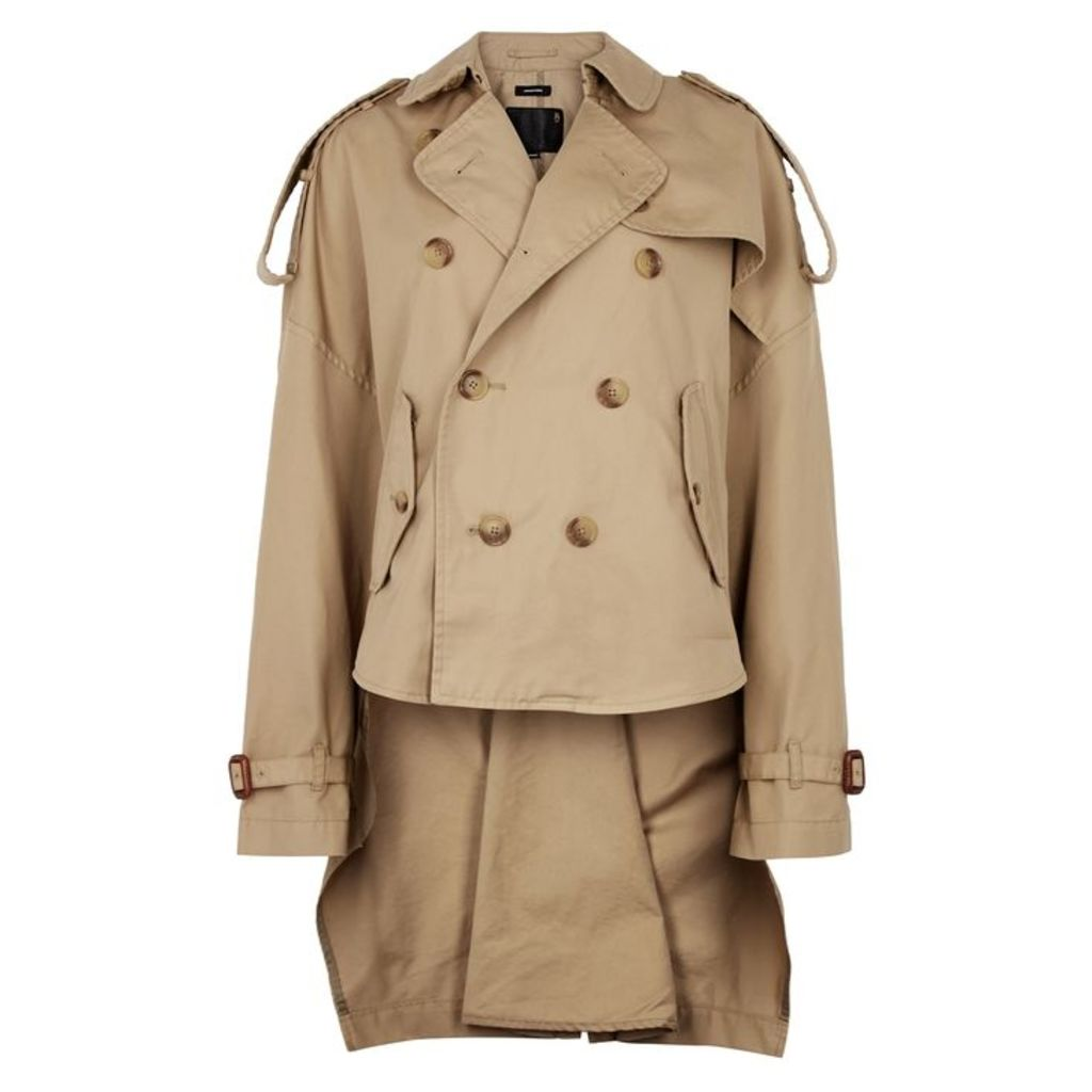 R13 Taupe Cropped Cotton-blend Trench Coat
