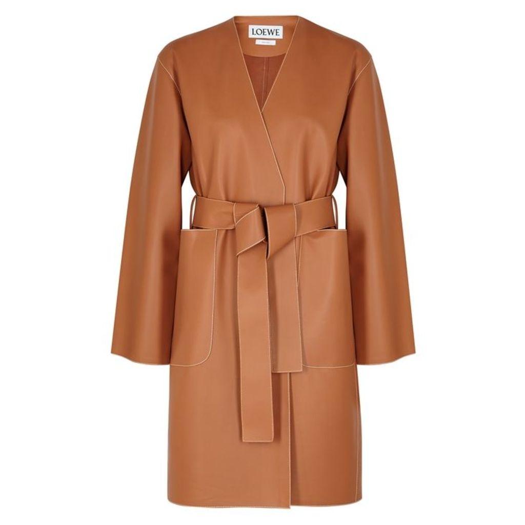 Loewe Brown Leather Coat