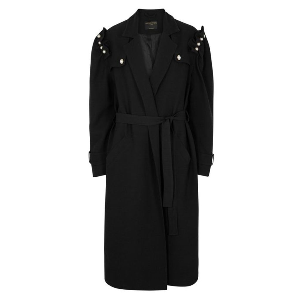 Mother Of Pearl Black Faux Pearl-embellished Coat