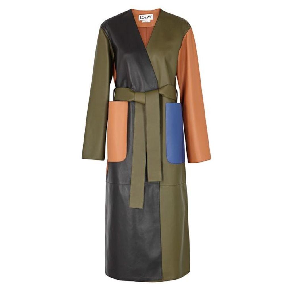 Loewe Colour-block Leather Coat