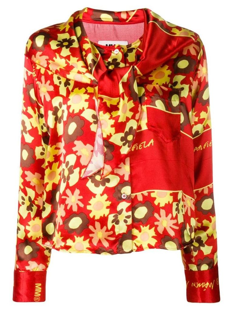 Mm6 Maison Margiela floral long-sleeve blouse - Red