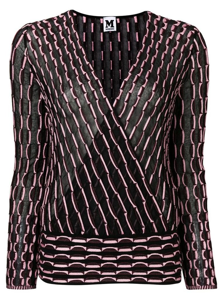M Missoni striped v-neck blouse - Pink