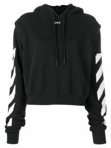 Off-White stripe detailed hoodie - Black