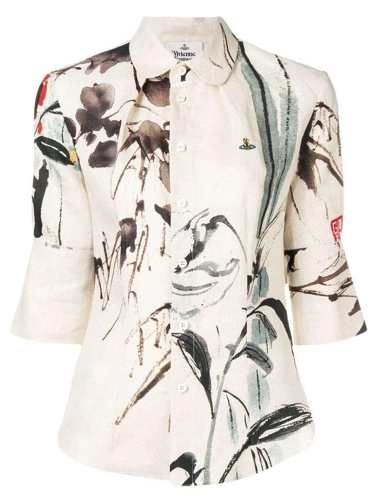 Vivienne Westwood floral embroidered blouse - Neutrals