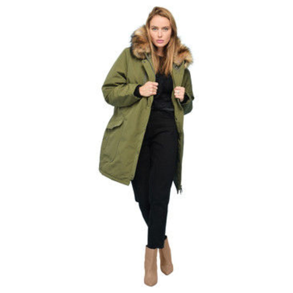 Rodier  Faux fur hooded parka  women's Parka in Green