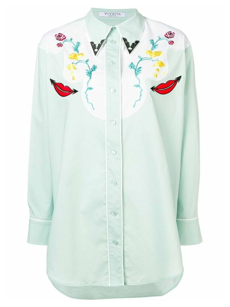 Vivetta embroidered western shirt - Green