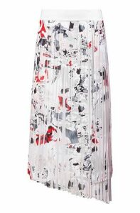 Plissé midi skirt with seasonal print and asymmetric hem