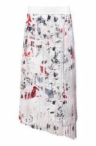 Plissé midi skirt with seasonal print and asymmetric hem