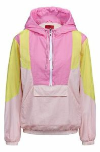 Oversized-fit hooded jacket with colourblocking and half zip