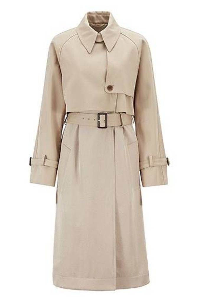 Oversized-fit trench coat in Italian cotton with belt