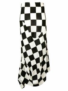 Jil Sander large-check draped skirt - Black